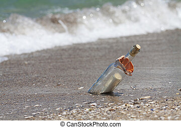 Message in a bottle with a wave coming