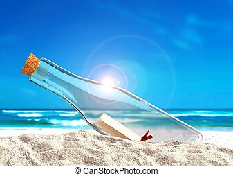 Message in the Bottle at Beach