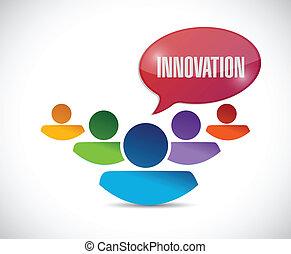 message, innovation, conception, illustration, équipe
