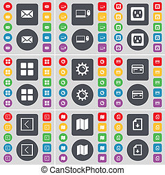 Message, Laptop, Socket, Apps, Gear, Credit card, Arrow left, Map, Download file icon symbol. A large set of flat, colored buttons for your design.