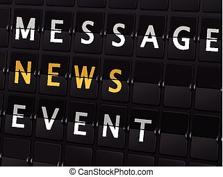 message news event words on airport board
