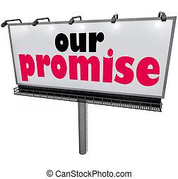 message, notre, service, garantie, panneau affichage, promesse, vœu, publicité