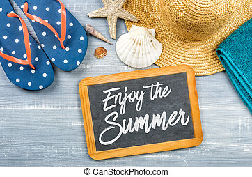 Message on a chalkboard - Enjoy the Summer
