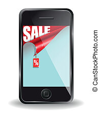 message on sale on the screen of the cell phone