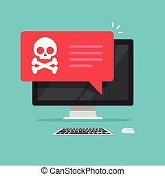 message ordinateur, malware, spam, concept, notification, pc bureau, vecteur, internet, exposer, plat, incertain, ligne, style, alerte, virus, connexion, données, fraude, scam, erreur