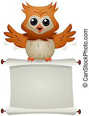 Message Owl - Owl carrying Blank Scroll with Clipping Path