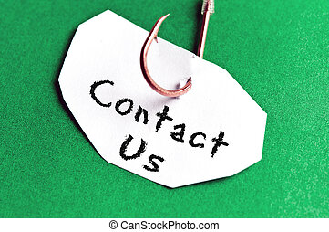 message, papier, nous, contact