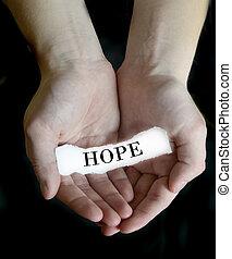 message, papier, tenue, espoir, mains