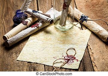 message, papier, vieux, scellé, bouteille