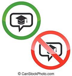 message, permission, remise de diplomes, signes