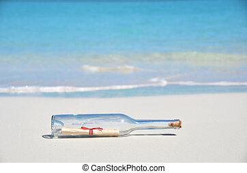 message, plage, bouteille