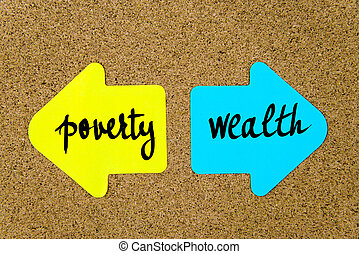 Message Poverty versus Wealth on yellow and blue paper notes as opposite arrows pinned on cork board with thumbtacks. Choice conceptual image
