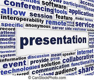 message, présentation, fond