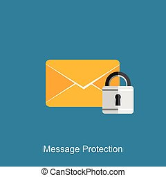 Message protection concept illustration. Message security.