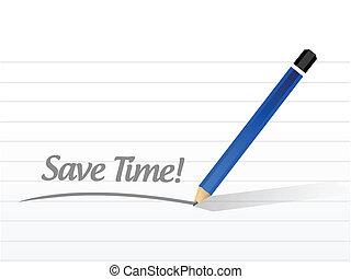 message, sauver, conception, illustration, temps
