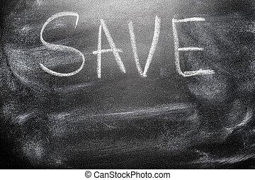 message, sauver, tableau, manuscrit