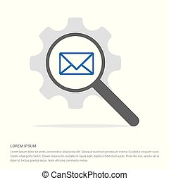message Search Glass with Gear Symbol Icon template