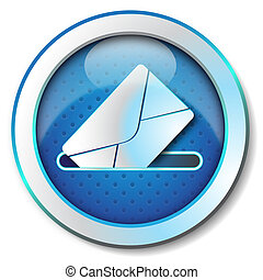 Illustration metallic icon for web isolated, color blue