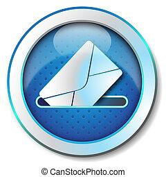 Message send icon - Illustration metallic icon for web ...
