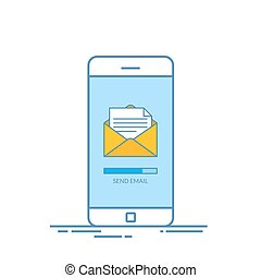 Message send on mobile phone. Email marketing. Thin line vector illustration in flat style isolated on white background.