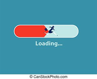 Message showing a loading bar and woman running. Concept business vector illustration.