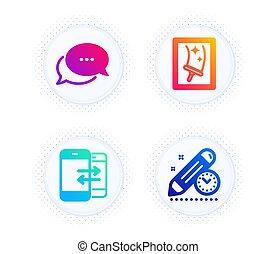 message, signe., icônes, fenêtre, set., date limite, projet, nettoyage, vecteur, téléphone, communication, points