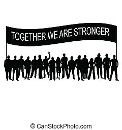message, silhouette, ensemble, gens