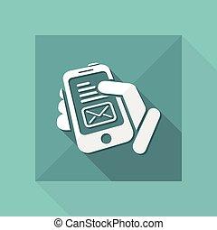 message, smartphone, icône