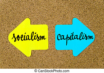 Message Socialism versus Capitalism on yellow and blue paper...