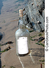 message, solitaire, bouteille, vide