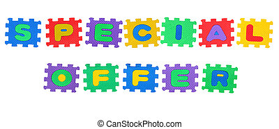 Special offer - Message Special offer, from letters puzzle, ...