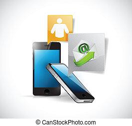 message téléphonique, concept, communication