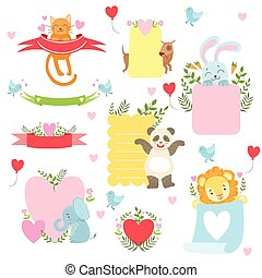 Message Template Set With Cute Animals