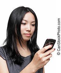 message texte, femme, sms, téléphone