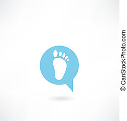 message with a human footprint icon
