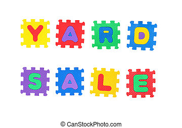 Yard Sale - Message Yard Sale, from letters puzzle, isolated...