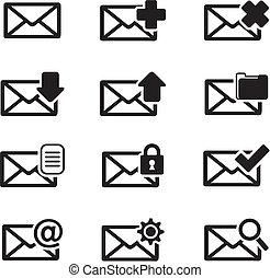 messagerie, icône, ensembles