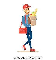 messagerie, sac, ouvrier, supermarché, livrer, livraison, produits, papier, porter, illustration, sourire, paquets