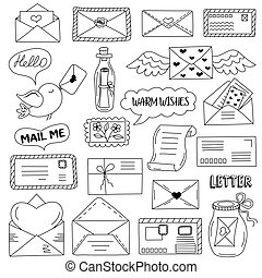 Messages, envelopes, letters in doodle style.