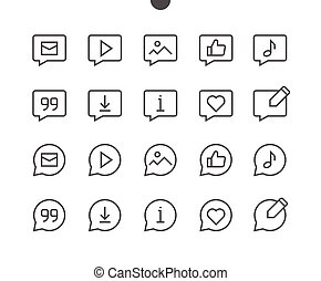 Messages UI Pixel Perfect Well-crafted Vector Thin Line Icons 48x48 Ready for 24x24 Grid with Editable Stroke. Simple Minimal Pictogram