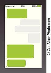 messaggero, corto, messaggio, servizio, bubbles., testo, chiacchierata, sms, boxes., vuoto, messaging, bubles, template.
