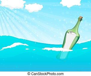 messaggio, aiuto, bottiglia