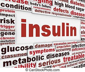 messaggio, avvertimento, insulina, fondo