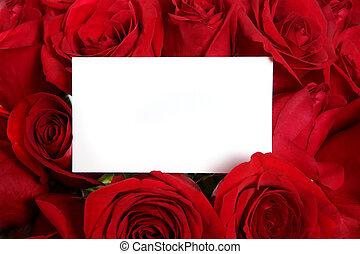 messaggio bianco, scheda, circondato, vicino, rose rosse, perfetto, per, valentine\'s, giorno, o, un, anniversario