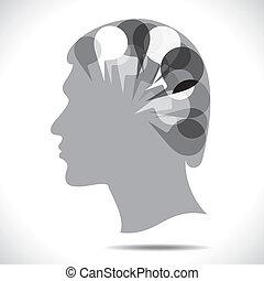 messaggio, bolla, testa, persone