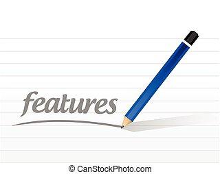 messaggio, caratteristiche, illustrazione, segno