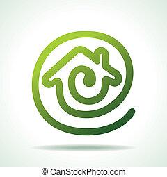 messaggio, fare, icona, verde, casa