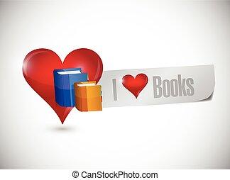 messaggio, libri, amore, illustrazione, segno