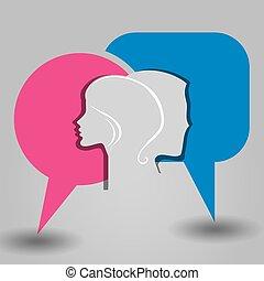 messaggio, maschio, faccia femmina