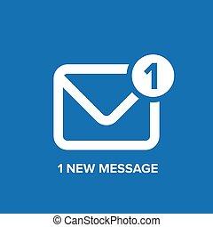 messaggio, o, email, icona, vettore